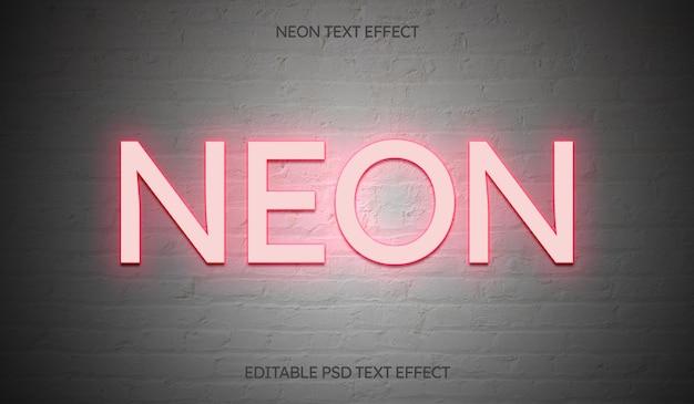 Neonowy edytowalny efekt tekstowy na białej ścianie z cegły
