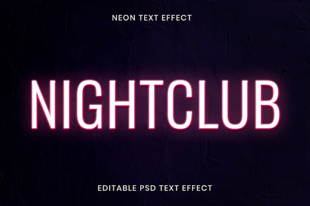Neonowy efekt tekstowy psd edytowalny szablon