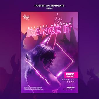 Neonowy pionowy plakat do muzyki elektronicznej z kobietą dj
