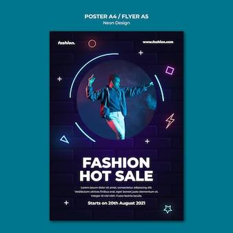 Neonowy pionowy plakat szablon do sprzedaży w sklepie odzieżowym