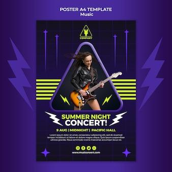 Neonowy pionowy plakat szablon na letni koncert nocny