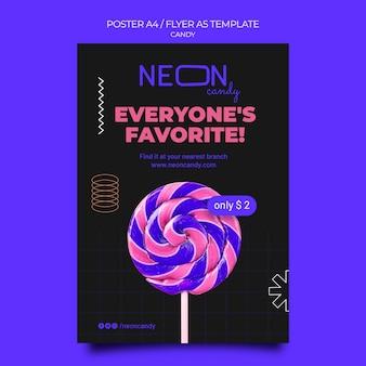 Neonowy plakat pionowy do sklepu ze słodyczami