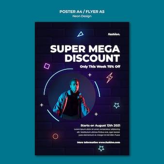 Neonowy plakat pionowy do sprzedaży w sklepie odzieżowym