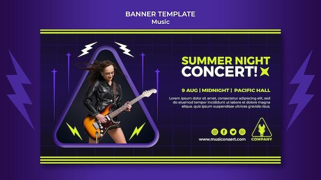 Neonowy poziomy baner szablon na koncert w letnią noc