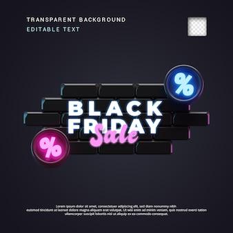 Neonowy styl czarny piątek 3d tytuł tekstu
