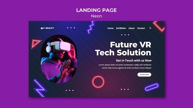 Neonowy szablon sieciowy okularów wirtualnej rzeczywistości