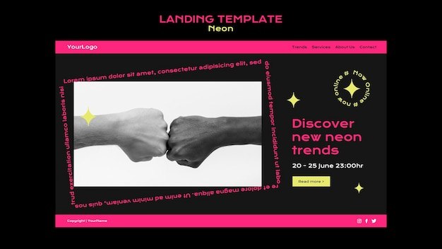 Neonowy szablon strony docelowej dla nowych trendów online
