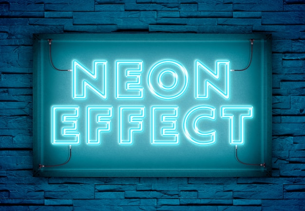 Neonowy tekst w sklepie znak makieta