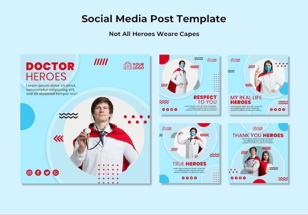 Nie wszyscy bohaterowie noszą peleryny szablon postów w mediach społecznościowych