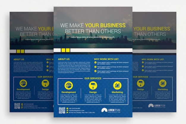 Niebieska broszura biznesowa