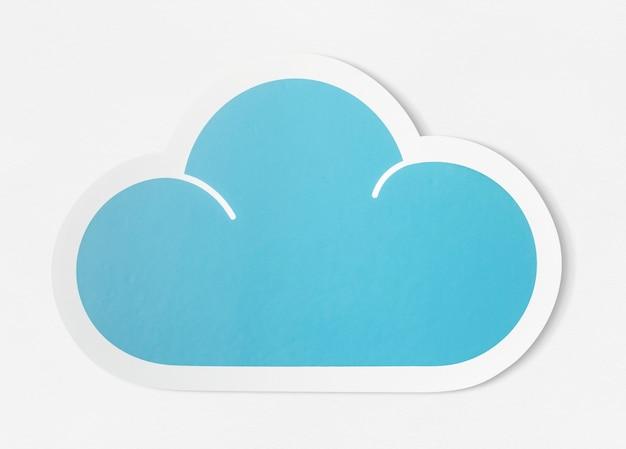 Niebieska chmura wyciąć ikonę