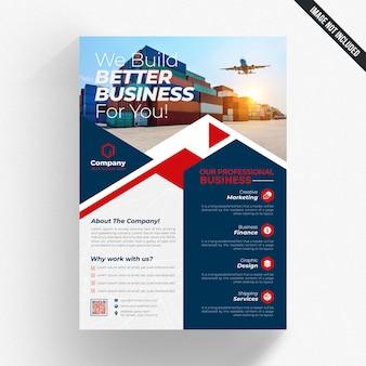 Niebieska i biała ulotka biznes z czerwonymi szczegółami