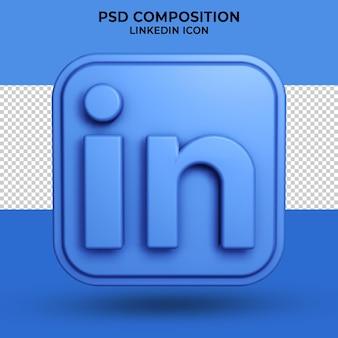 Niebieska ikona linkedin renderowania 3d na białym tle