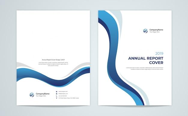 Niebieska roczna okładka raportu rocznego i tył