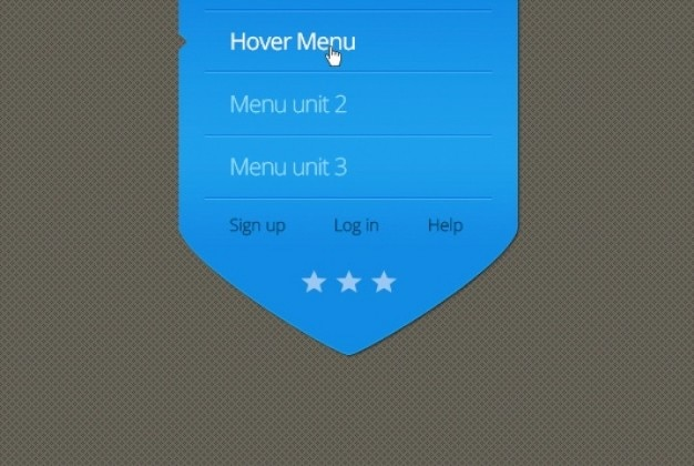 Niebieska strzałka z menu efekt najechania