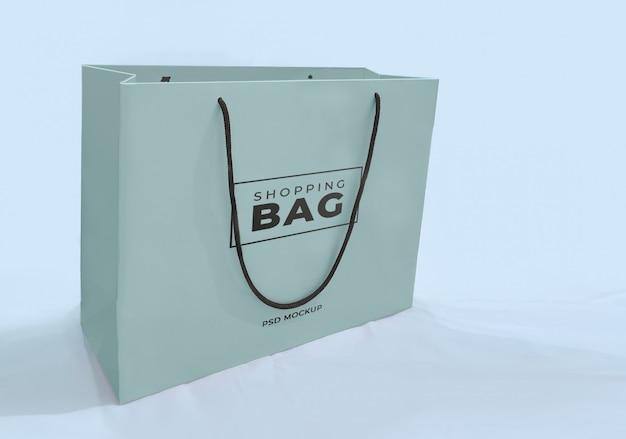 Niebieska turkusowa papierowa torba na zakupy
