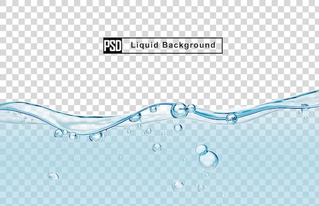 Niebieska woda płynne tło z bańki