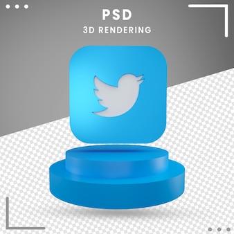 Niebieski 3d obrócone logo ikona twitter na białym tle