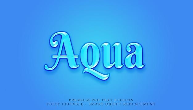 Niebieski aqua 3d styl tekstu efekt psd