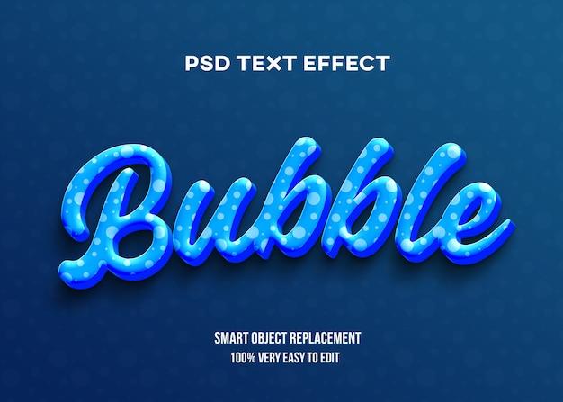 Niebieski bąbelkowy efekt tekstowy 3d
