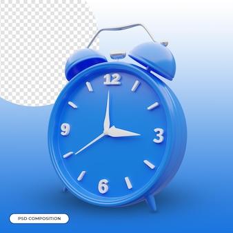Niebieski budzik 3d ikona na białym tle