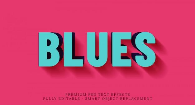 Niebieski efekt stylu tekstu 3d