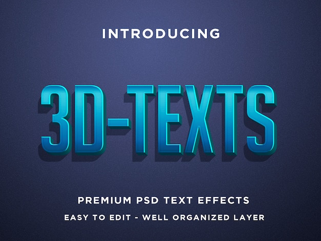 Niebieski, efekt tekstowy 3d premium psd