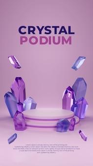 Niebieski fioletowy kryształ 3d podium potrait