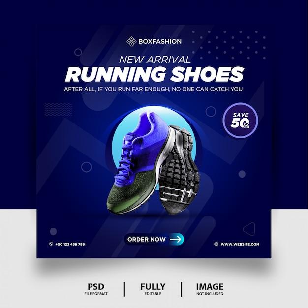 Niebieski kolor gradientu buty do biegania marka produkt social media post banner