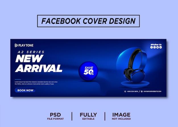Niebieski kolor słuchawek marki szablon okładki na facebook