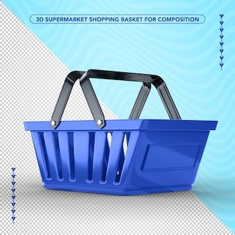 Niebieski koszyk na zakupy po stronie supermarketu