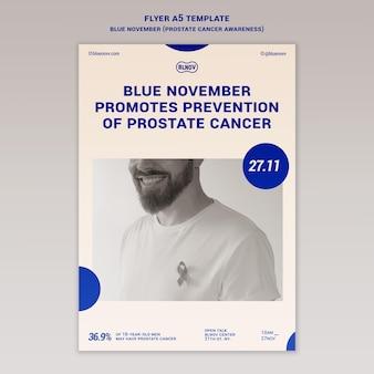 Niebieski listopadowy szablon wydruku pionowego
