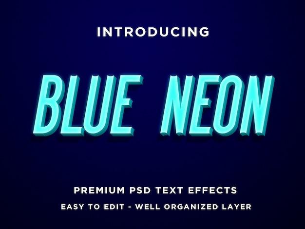 Niebieski neon 3d styl tekstu efekt premium psd