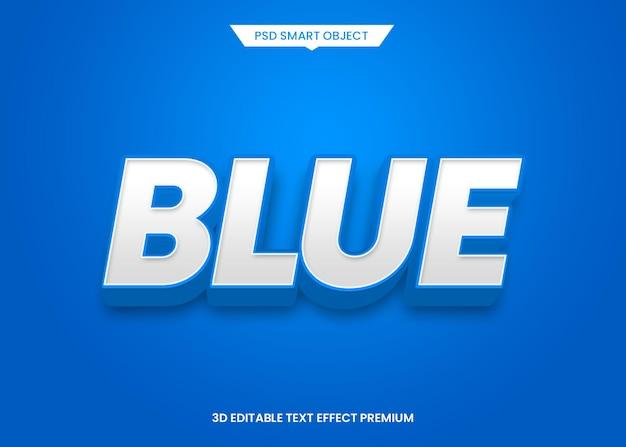 Niebieski nowoczesny efekt edytowalnego stylu tekstu 3d