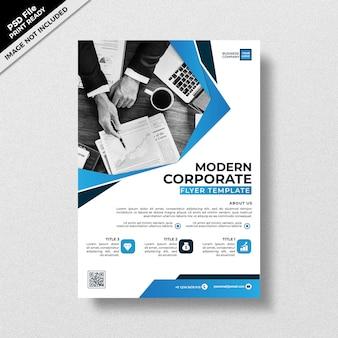 Niebieski nowoczesny szablon ulotki firmowej