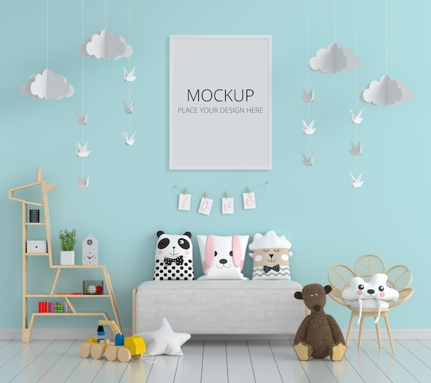 Niebieski pokój dziecięcy z makietą ramki