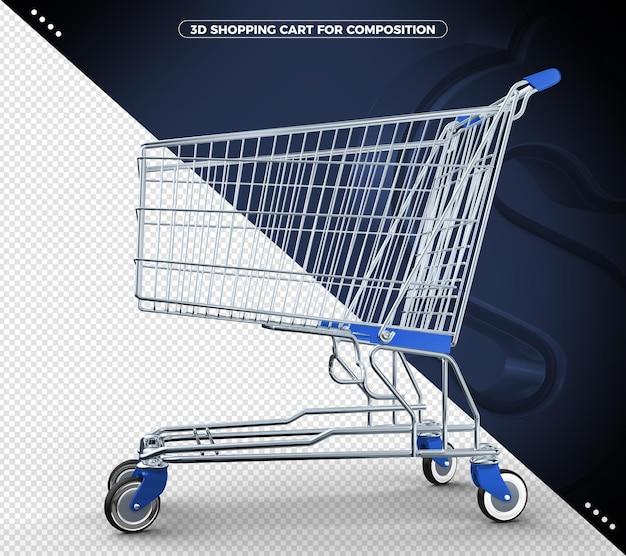 Niebieski renderowania 3d koszyka w supermarkecie na białym tle