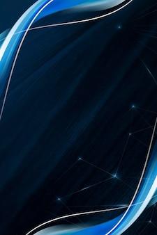 Niebieski szablon ramki krzywej na ciemnoniebieskim tle