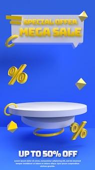 Niebieski żółty 3d edytowalne podium na reklamę produktu ze zniżką i tożsamość marki