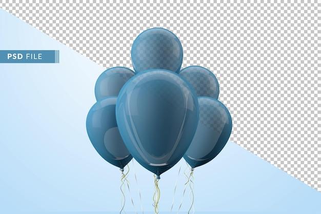 Niebieskie balony float na białym tle