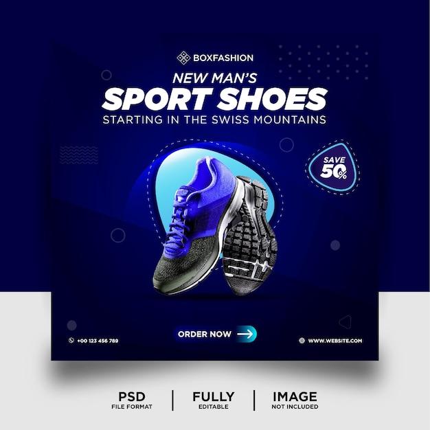 Niebieskie buty sportowe w kolorze gradientu marka produktu instagram banner