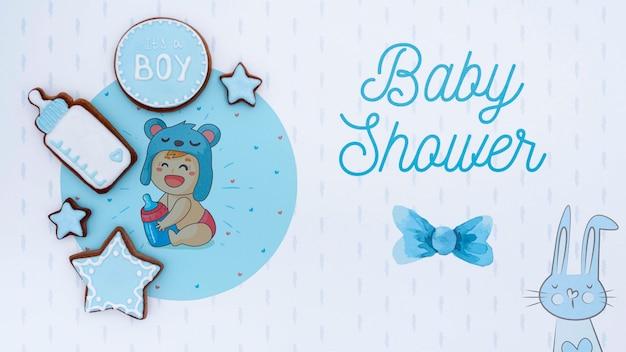 Niebieskie dekoracje baby shower