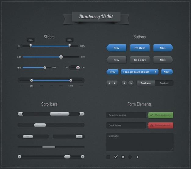 Niebieskie elementy interfejsu psd materiał