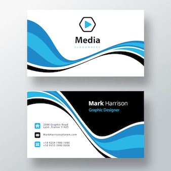 Niebieskie faliste psd kreatywne wizytówki z różnymi kolorami