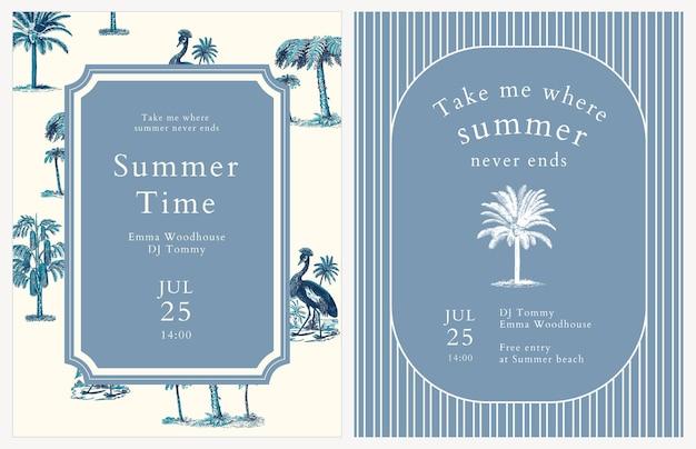 Niebieskie lato ulotki tropikalne tło