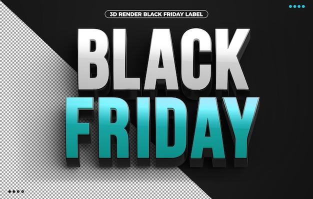 Niebieskie logo 3d black friday na białym tle na czarnym tle