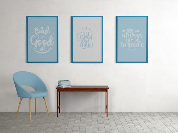 Niebieskie plakaty w ramkach z minimalistycznymi dekoracjami