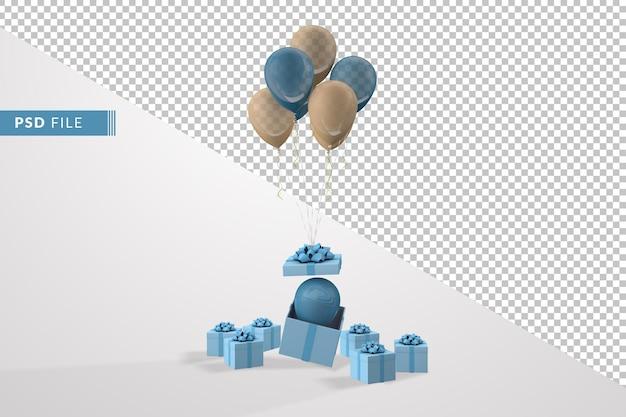 Niebieskie pudełko i balon pływający minimalne na białym tle renderowania 3d