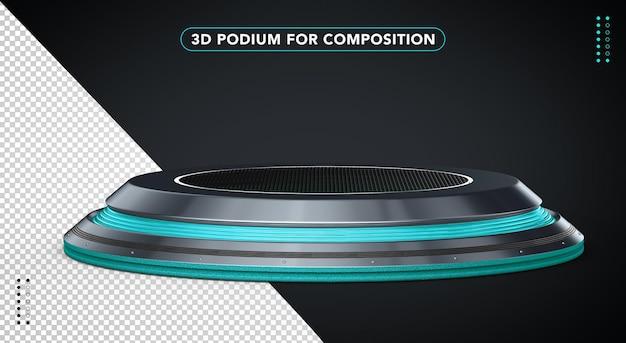 Niebieskie realistyczne podium w renderowaniu 3d