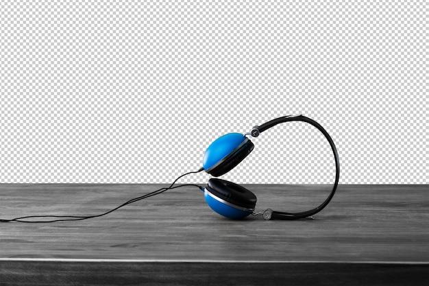 Niebieskie słuchawki na drewnianej powierzchni